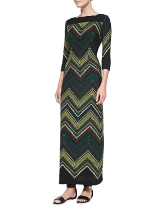 Zigzag-Print Crepe Long Dress, Women's