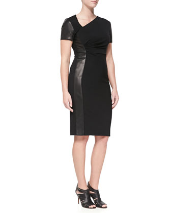 Asymmetric Sheath Dress with Leather Panel