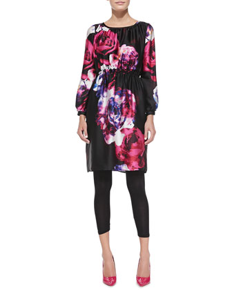 Floral-Print Charmeuse Tunic Dress, Women's