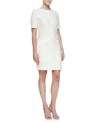 Short-Sleeve Drop-Waist Tweed Dress, Ivory
