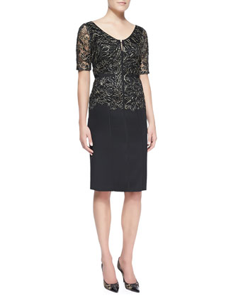 Short-Sleeve Lace Corded Dress