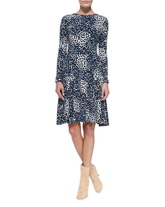 Leopard-Print Long-Sleeve Jersey Dress, Women's