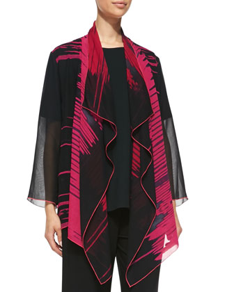 Waterfall Graphic-Print Jacket, Petite