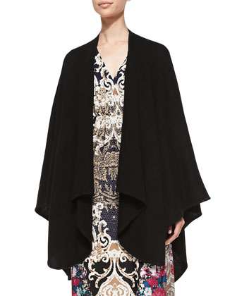 Cashmere Cape & Printed Luxe Jersey Maxi Dress