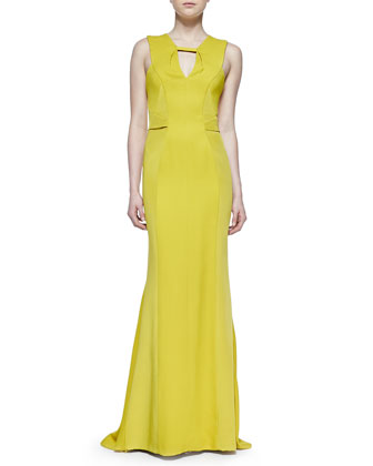 Sleeveless Geometric-Seamed-Bodice Gown
