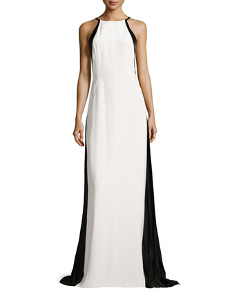Halter-Neck Colorblocked Gown, Ivory/Black
