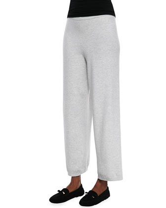 Long-Sleeve Colorblocked Cotton Top & Wide-Leg Knit Pants, Women's