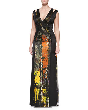 V-Neck Paneled Gown, Moss