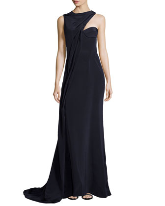 Sleeveless Asymmetric Gown, Navy