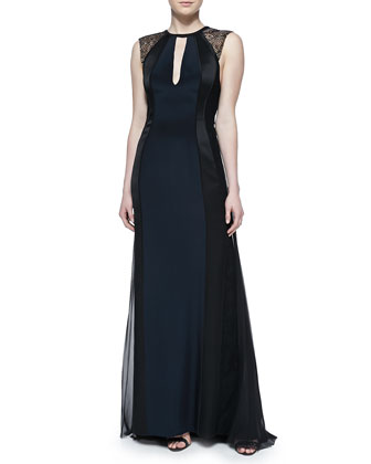 Sleeveless Gown with Lace Shoulders