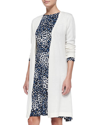 Cashmere Long Cardigan & Leopard-Print Jersey Dress, Women's