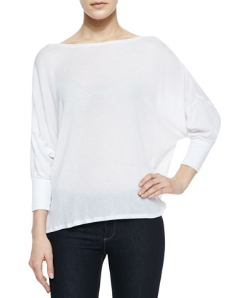 Drape-Back Loose Slub Top