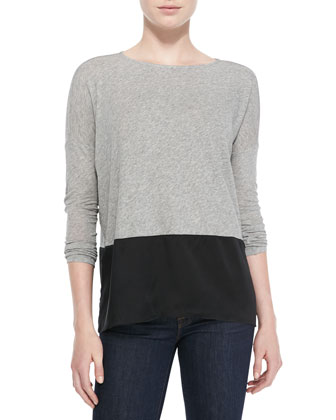 Mix-Fabric Long-Sleeve Top