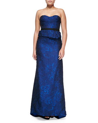 Organza Jacquard Bustier Strapless Gown, Royal