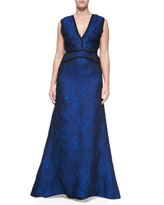 Sleeveless V-Neck Jacquard Gown