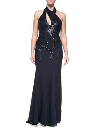 Embellished Halter Gown, Navy