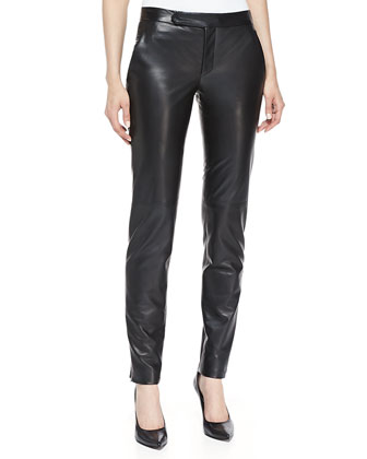 Straight-Leg Slim Leather Pants