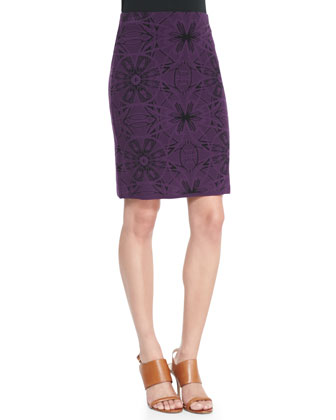 Mosaic Jacquard Pencil Skirt