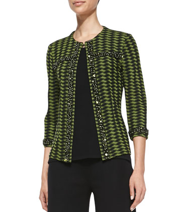 3/4-Sleeve Textured Bead-Trim Jacket