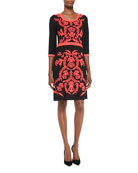 3/4-Sleeve Patterned-Front Dress