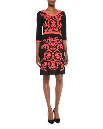 3/4-Sleeve Patterned-Front Dress, Petite