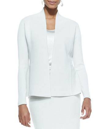 Silk-Cotton Peplum Jacket, Petite