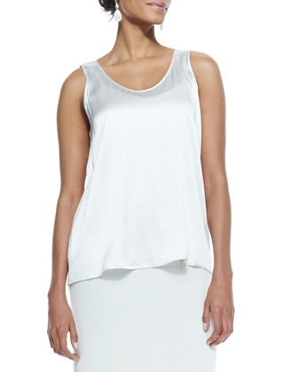 Charmeuse V-Neck Tank, Bone