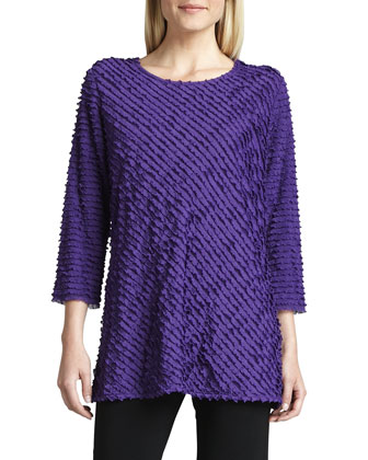 Bias-Ruffled Knit Tunic