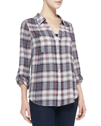 Cartel Loose Plaid Cotton Blouse