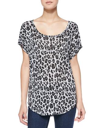 Maddie Leopard-Print Slub Linen Top