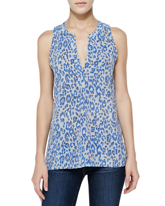 Aruna Printed Sleeveless Silk Top
