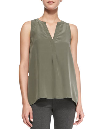 Aruna Sleeveless Silk Tank & Keena Knit Pull-On Leggings