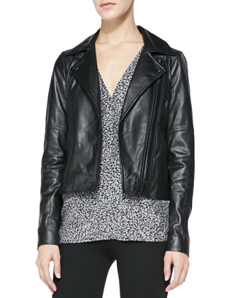 Davey Lambskin Leather Jacket, Kally Printed Georgette Top & Keena Ponte ...