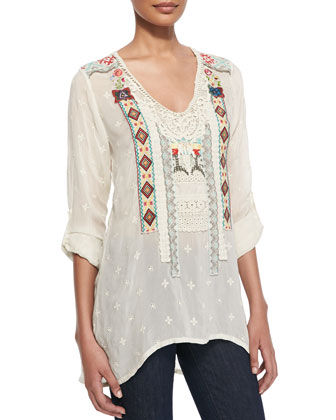 Tribal Patchwork Long-Sleeve Tunic, Women's