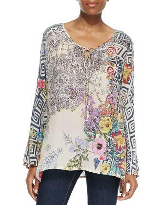 Printed Tie-Neck Tunic, Women's