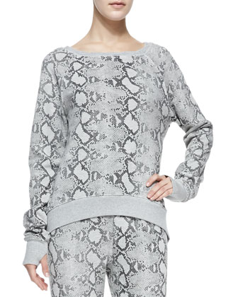Snake-Print High-Low Sweatshirt