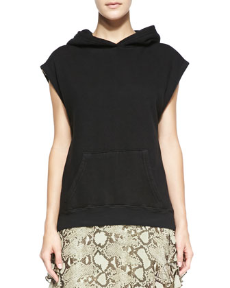 Cap-Sleeve Hooded Sweatshirt & Python-Print Flutter-Sleeve Dress