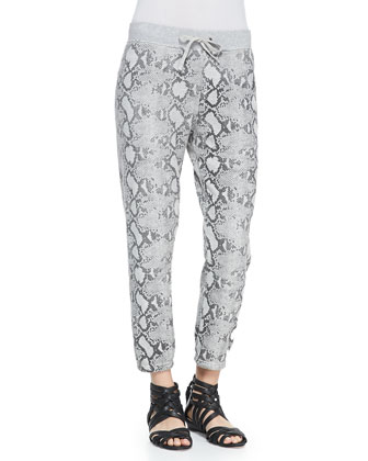 Snake-Print Basic Cropped Pants