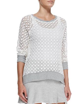 Knit-Trim Crochet Lace Sweatshirt