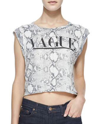 VAGUE Printed Cropped Muscle Tee, Heather Gray