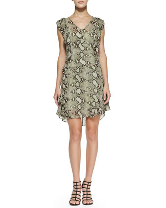 Python-Print Flutter-Sleeve Dress, Mint