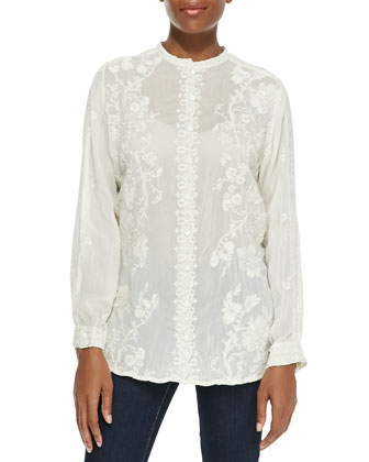 Long-Sleeve Embroidered Blouse with Mandarin Collar
