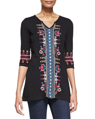 Camdyn Embroidered Half-Sleeve Tunic