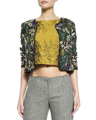 Kidman Embellished Box Jacket, Cierra Jacquard Diagonal-Seam Top & Hart ...