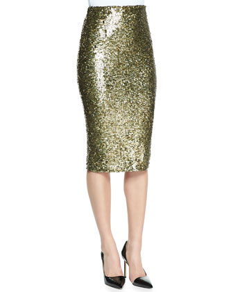 Basket-Weave Raglan Turtleneck & Bryce Sequined Pencil Skirt
