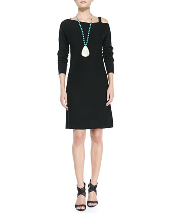 Asymmetric-Neck Knit Merino Dress