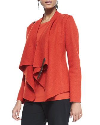Bias-Twisted Wool Drape Jacket, Cozy Long Slim Jersey Top & Straight-Leg ...