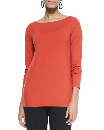 Cozy Long Slim Jersey Top, Petite