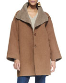Double-Face Alpaca Cocoon-Shape Coat, Petite