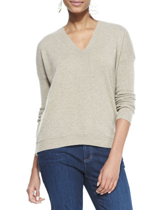 V-Neck Cashmere Wedge Top, Almond